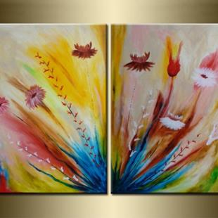 Art: ORIGINAL abstract PAINTING WITH FLOWERS  by Artist Nataera