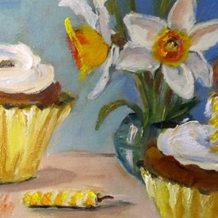 Art: Daffodils and Cupcakes by Artist Delilah Smith