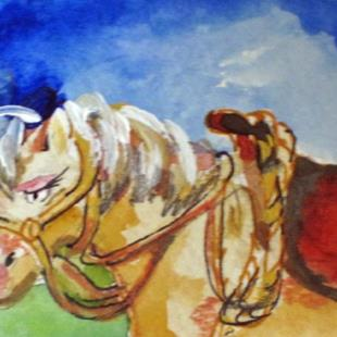 Art: Cow Pony Aceo by Artist Delilah Smith