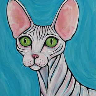 Art: Sphynx Cat with Green Eyes by Artist Melinda Dalke