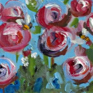 Art: Pink Flowers and Bees Aceo by Artist Delilah Smith