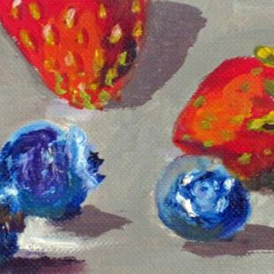 Art: Blue Berries and Strawberries Aceo by Artist Delilah Smith