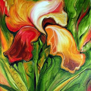 Art: RED IRIS ABSTRACT by Artist Marcia Baldwin