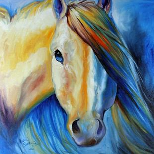 Art: STALLION WILD WHITE & BLUE by Artist Marcia Baldwin