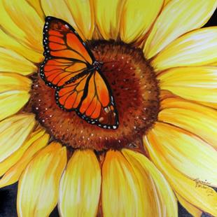Art: SUNFLOWER & BUTTERFLY by Artist Marcia Baldwin