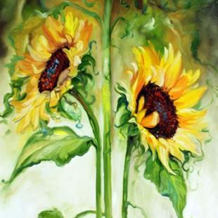 Art: TRIPLE SUNNY SUNFLOWERS by Artist Marcia Baldwin