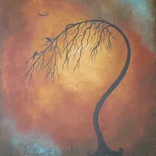 Art: Two Blackbirds in a Tree by Artist Charlene Murray Zatloukal