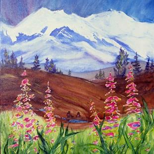 Art: Mountain Weeds (sold) by Artist Kathy Crawshay
