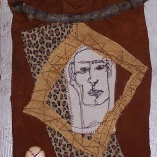 Art: Wild Thing fabric wall hanging by Artist Nancy Denommee