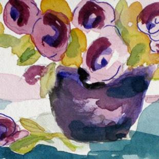 Art: Purple Flowers Aceo by Artist Delilah Smith