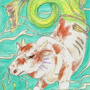 Art: One Mean Bull~Rodeo Bull Hippocampus by Artist Kim Loberg