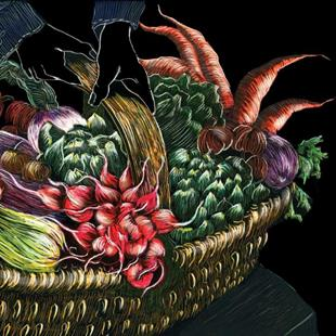 Art: Basket of Vegetables by Artist Naquaiya