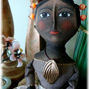 Art: OOAK AFRICAN SAINT QUEEN  ANNE STYLE DOLL by Artist Cyra R. Cancel