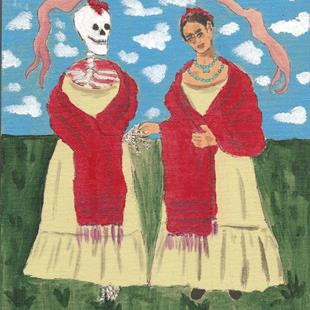 Art: Forty Fridas # 11 Frida with Skeleton by Artist Nancy Denommee