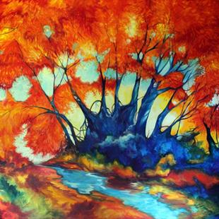 Art: FALL LANDSCAPE ABSTRACT RED TREES COMMISSIONED by Artist Marcia Baldwin