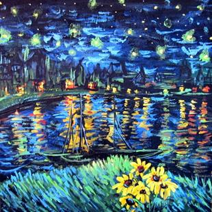 Art: Starry Night on the Rhine by Artist Diane Funderburg Deam