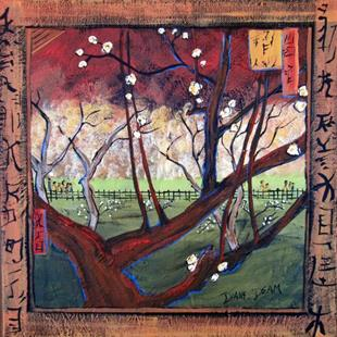 Art: Flowering Plum Tree Van Gogh Inspired  by Artist Diane Funderburg Deam