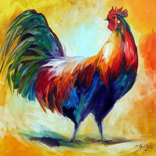Art: RED WING ROOSTER by Artist Marcia Baldwin