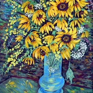 Art: Friday's Sunflowers by Artist Diane Funderburg Deam