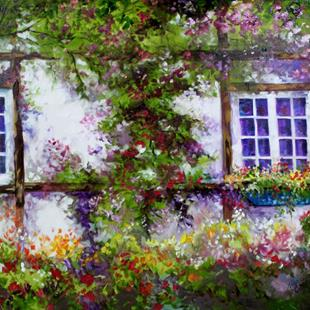 Art: ENGLISH GARDEN COTTAGE by Artist Marcia Baldwin