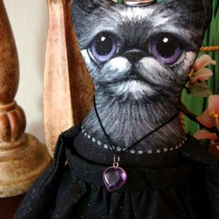 Art: FOLK ART PRIMITIVE OOAK WITCH-WIZARD SMOKEY CAT DOLL BY COMMISSION ONLY by Artist Cyra R. Cancel
