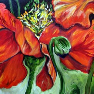 Art: THE POPPIES ~ A FLORAL ABSTRACT in RED by Artist Marcia Baldwin