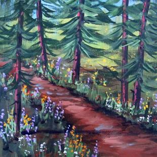 Art: Wildflowers in the Pines by Artist Diane Funderburg Deam