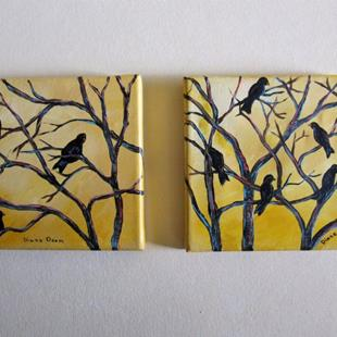 Art: Crows in Trees by Artist Diane Funderburg Deam