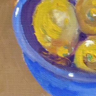 Art: Blue Bowl of Lemons Aceo-sold by Artist Delilah Smith