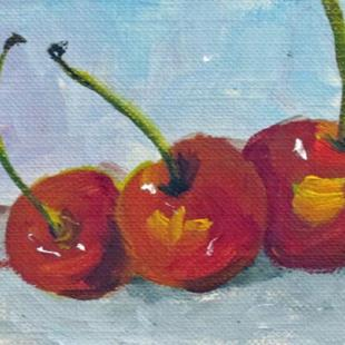 Art: Three Cherry Aceo by Artist Delilah Smith