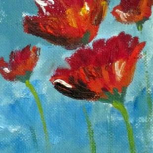 Art: Red Flower Aceo by Artist Delilah Smith