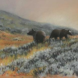 Art: Grizzly Bear Pair by Artist Lynn Bickerton Chan