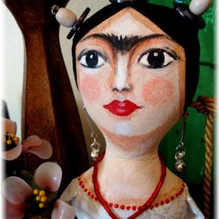 Art: OOAK FRIDA CLOTH DOLL STYLE IN BLACK by Artist Cyra R. Cancel