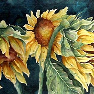 Art: Sunflowers after the rain by Artist Ulrike 'Ricky' Martin