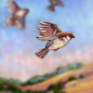Art: Flying With Sparrows ~ Bokeh by Artist Patricia  Lee Christensen