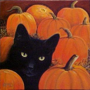 Art: PUMPKIN CAT by Artist Rosemary Margaret Daunis