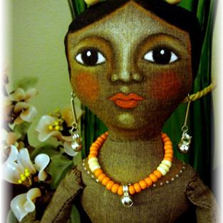 Art: OOAK BLACK MULATA CARIBBEAN DOLL by Artist Cyra R. Cancel