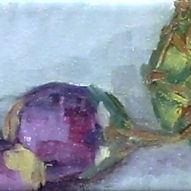 Art: artichoke with baby eggplants by Artist C. k. Agathocleous