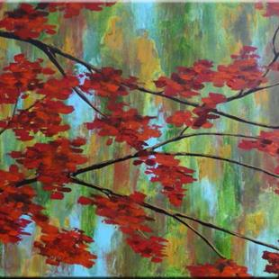 Art: ORIGINAL abstract LANDSCAPE PAINTING WITH TREE , MODERN Art - SOLD by Artist Nataera