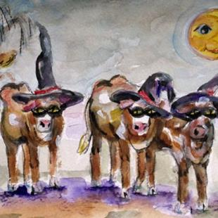 Art: Boo Cows by Artist Delilah Smith
