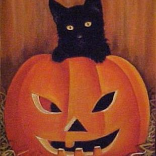 Art: HALLOWEEN KITTEN by Artist Rosemary Margaret Daunis