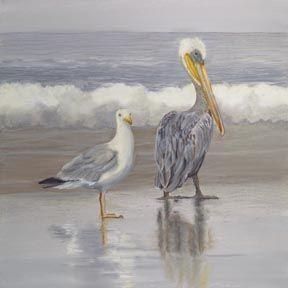 Art: Seagull And Pelican by Artist Carol Thompson