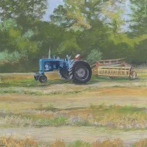 Art: Blue Tractor by Artist Carol Thompson