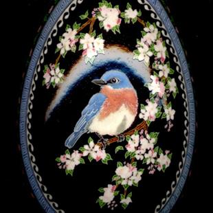 Art: Blue Bird in Apple Tree by Artist So Jeo LeBlond