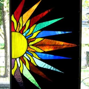 Art: Stained Glass Window Panel Sunburst by Artist Phil Petersen
