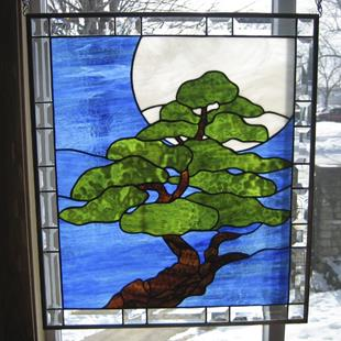 Art: Bonsai Moonlight Stained Glass Window by Artist Phil Petersen