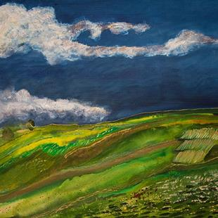 Art: Soft Wheat Fields and Thunderclouds by Artist Rebecca M Ronesi-Gutierrez