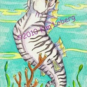 Art: Unicorn Zebra Sea Horse - Visions After A Trip To The Zoo by Artist Kim Loberg