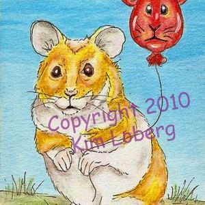 Art: Pyscho Hamster & His Red Balloon by Artist Kim Loberg