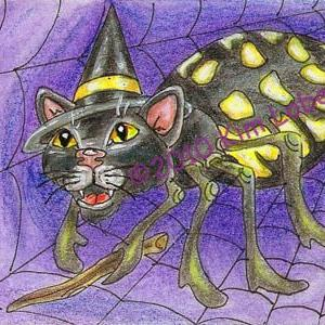 Art: The Witch's Black Cat & the Spider Spell - SOLD by Artist Kim Loberg